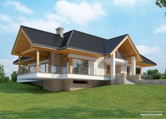 House with attic in modern style with usable area House with a large garage. Minimum size of a plot needed for building a house is m. House Plans Mansion, Cottage Style House Plans, Ceramic Roof Tiles, Pent House, Modern House Design, Architecture, Ground Floor, Deco, Home Projects