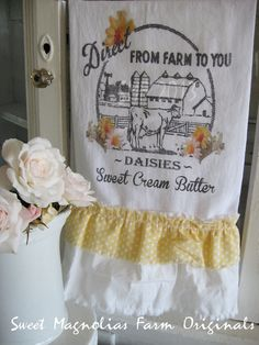 "Flour Sack Kitchen Towel ""Daisies Sweet Cream Butter""  by SweetMagnoliasFarm, $18.00"