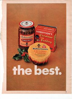 A lovely piece of nostalgia.  From a 1968 English Family Circle Magazine.  Etsy $4.50    Advertisement for Robertsons    Advert shows a nice coloured image of an old time favourite  Christmas Pudding & Mincemeat  Clear & simple..nice to frame