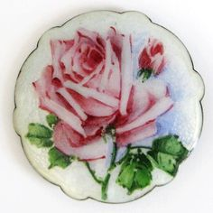 Antique Ole Olberg Sterling Enamel Norway Guilloche Rose Brooch Pin
