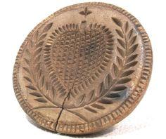 Antique 19thC HEART BUTTER STAMP AAFA Folk Art Primitive Treenware mold treen