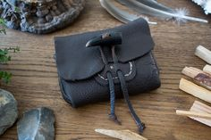 Wooden Sheep belt pouch. Made from soft buffalo leather.