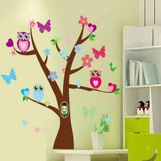 Butterfly Owl Tree Wall Stickers Decals from Wall Decals, Irelands largest range of kids wall stickers, wall decals and custom wall stickers available. Girls Wall Stickers, Custom Wall Stickers, Owl Wall Art, Owl Tree, Nursery Wall Decals, Tree Wall, Butterfly, Bedroom, Wall Stickers For Nursery