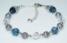 Swarovski Montana Denim Blue and Crystal AB Bracelet by BestBuyDesigns