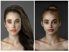 """An idea of the """"perfect woman"""" by 40 photo editors in  25 countries who photoshopped the portrait of Esther Honig l Esther Honig's """"Before and After"""" Project l #photoshop #beautystandard #USA (XII)"""