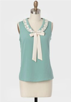 City By The Sea Collared Bow Blouse