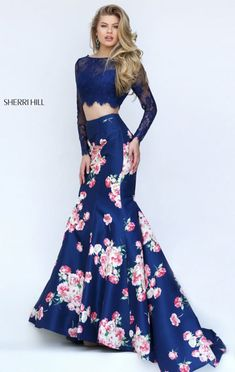 2016 Sherri Hill 50488 Long-Sleeved Navy Printed Bateau-Neck Long Lace Prom Dresses