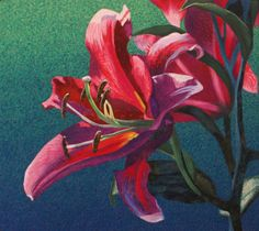 Hybrid Lily by Lenore Crawford.  She is a master at creating realistic images with fabric, paint and thread.
