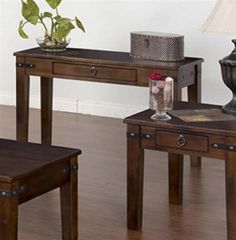 Santa Fe Traditional Dark Chocolate Wood Sofa Table