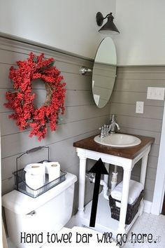 beautiful bathroom makeover.. love the panel board on walls. vanity made from leftover butcher block, nice tile on floor