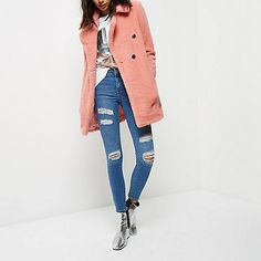 Pink borg double-breasted coat - coats - coats / jackets - women