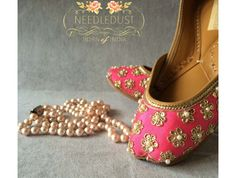 Designer Juttis from NeedleDust India. You are going to love us! Our juttis are made in genuine leather and are easily twisted in hand, making the jutti extremely soft on your feet. All our probucts are hand embroidered and hand sewed. Known as Aladdin slippers, Indian Ballerinas etc., the Indian Punjabi traditional footwear. The jutti is spotted everywhere, complementing jumpsuits, maxis, short dresses and jeans.