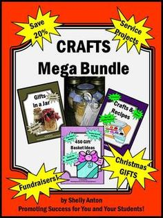 Christmas Crafts: This MEGA Bundle contains 5 of my popular crafts resources! You will receive TONS of ideas for service projects, pay it forward, fundraisers, Christmas gifts, and more! This is a great resource in school and out of school!!! You will find over 450 gift basket ideas, over 200 gifts in a jar recipes, crafts for gifts and in the classroom, friendship soup and cookies recipes and templates! You won't be disappointed!