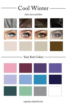 Cool winter palette with hair, eyes and skin examples - Stil Finder Hair Colour For Green Eyes, Hair Color For Fair Skin, Colors For Skin Tone, Cool Hair Color, Brown Hair Colors, Eye Color, Hair Colours For Pale Skin, Color Red, Color Me Beautiful