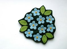 Have An Inquiring Mind Blue Fabric Flower Brooch Pins & Brooches