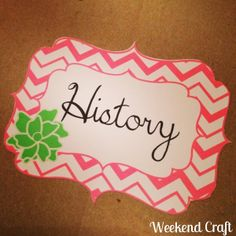 History printable book cover label