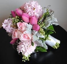 Pink hyacinth, pink roses, & tulips....beautiful!!