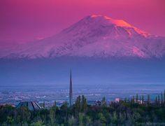 Ararat Mountain, from Tsitsernagapert Genocide Memorial, Erevan. Armenia.