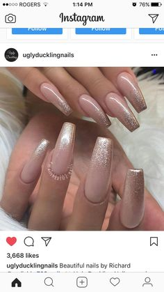 Nude pink and gold - Nail Design Ideas! Nude pink and gold - Nude pink and gold – Nail Design Ideas! Nude pink and gold - Cute Acrylic Nails, Cute Nails, Pretty Nails, Neutral Acrylic Nails, Blush Nails, Pink Gold Nails, Glitter Ombre Nails, Coffin Nails Glitter, Fabulous Nails