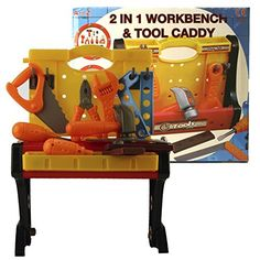 2 in 1 Workbench and Tool Caddy with Tools / Toy Workshop -- Check out this great product.