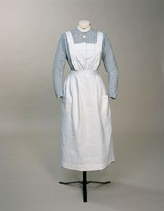 St. Bartholomew's Nurse's Uniform Dress, Julia Scott (maker), UK: 1918-1925, striped cotton twill.