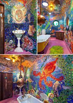 submarine bathroom - Baustil Ideen Mosaic Bathroom, Mosaic Diy, Quirky Decor, Boho Decor, Bohemian Porch, Fairytale Bedroom, Decoration Originale, Room Setup, House Rooms