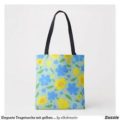 Elegante Tragetasche mit gelben und blauen Blumen Tasche Elegant, Reusable Tote Bags, Shopping Spree, Tote Bags, Yellow, Florals, Taschen, Classy