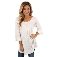 Cheer On Tunic in Ivory   Impressions Online Women's Clothing Boutique