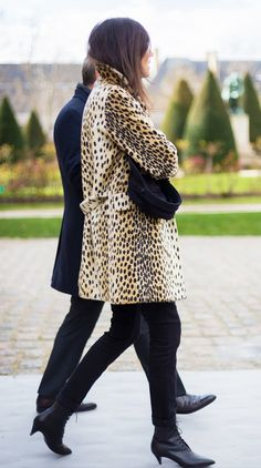 Leopard coat + lace-up heels // editor style