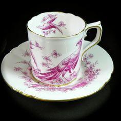 Royal Crown Derby Chelsea Bird Pattern Pink Demitasse Cup & Saucer x 4