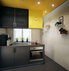 Kitchen Fashionable Decorating Walls Yellow Pantry Ktchen Lighting Ceiling Design Idea Black.jpg Awesome Wall Decor