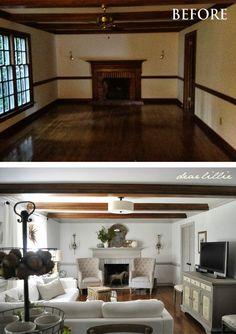 Dear Lillie: family room - amazing transformation: Simply white bm walls; trim is london fog bm