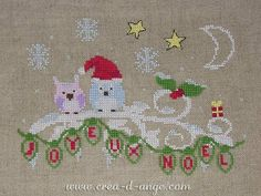 Les Hiboux de Noël Grille de point de croix - Copyright Créa d'Ange®