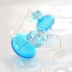 Bright Blue Glass Earrings by bstrung on Etsy, $22.00