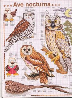 owls big and small * Cross Stitch Owl, Beaded Cross Stitch, Cross Stitch Borders, Cross Stitch Animals, Counted Cross Stitch Patterns, Cross Stitch Charts, Cross Stitch Designs, Cross Stitching, Cross Stitch Embroidery