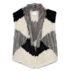 Vince Colorblock Fur Vest ($995) ❤ liked on Polyvore featuring outerwear, vests, open front vest, color block vest, fur vests, fur waistcoat and vest waistcoat