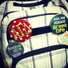 go greek ~ go ΑΓΔ ✰ Tau Gamma, Theta, Voting Online, Go Greek, Alpha Sigma Alpha, Sorority Gifts, Button, My Love, Backpack