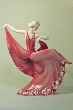 Unusual Vintage Original Katzhutte Art Deco Porcelain Lady Figurine | eBay
