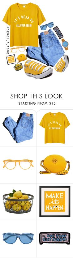 """""""~ It's Deja Vu ~"""" by cesca-8-rose ❤ liked on Polyvore featuring Levi's, Monki, Converse, Pantos, Tory Burch, Mikasa, Gucci, Olympia Le-Tan and Bertha"""
