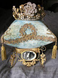 pin cushion, pillow,french, or moulu, gold, metal, trim, france, crown, paste, rhinestone