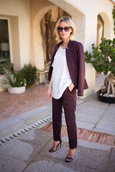 91093e3574 Outfit  Plum Suit   White T-Shirt by Comma. VIU EYEWEAR
