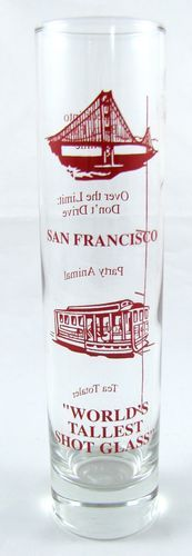 San Francisco Souvenir World's Tallest Shot Glass California Golden Gate Trolley | eBay