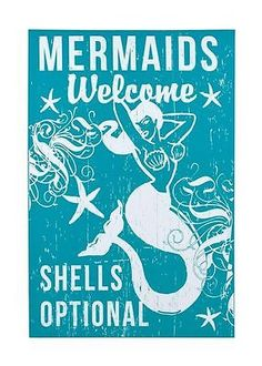 "Nautical Canvas Sign Wall Art Vintage Home Decor "" Mermaid Shells Optional """