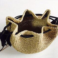 タッセル巾着ショルダーカゴバッグ『Coron』ブラック|巾着|crews|ハンドメイド通販・販売のCreema