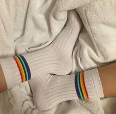 I love these socks. Imagine them with light wash high waisted shorts and a Polaroid yellow crop top 💛 Classic Lingerie, Rainbow Aesthetic, Cute Socks, Sock Shoes, Jimi Hendrix, Leg Warmers, Rihanna, Retro Vintage, Pride