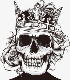 Vector calavera y rosas, Rose, Pintado A Mano De Cráneo, Cartoon Skull PNG y Vector