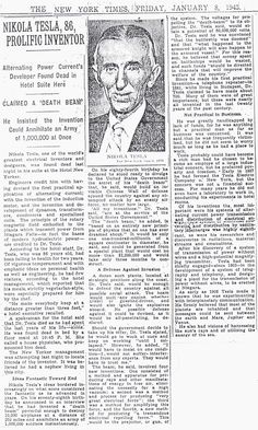 Tesla's death, New York Times 1943