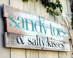 Wood Pallet Beach Sign - Sandy Toes and Salty Kisses - Hand Painted 30x11