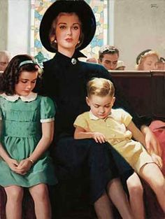 Mourning Mother And Two Children In Church
