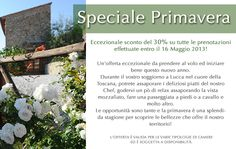 This coming spring the Tenuta San Pietro has put together a unique promotion.  We are offering an exceptional 30% discount on all bookings until the 16th of May 2013.    It is such a lovely season to explore the area, so take advantage now and start booking your trip in Tuscany.    You can enjoy a delicious dinner at our restaurant, a walk in the countryside whilst admiring the breath taking views, a visit to Lucca or nearby villages.